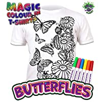Splat Planet Colour-in Butterflies T-Shirt with 6 Non-Toxic Washable Magic Pens - Colour-in and Wash Out T-Shirt