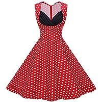 Misseurous da donna elegante colore solido del 1950Pois Grande Swing Vestito
