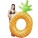 Rocita Aufblasbarer Schwimmring Schwimminsel für Erwachesene Pool Party Strand Spielzeug (185 * 76cm, Ananas)
