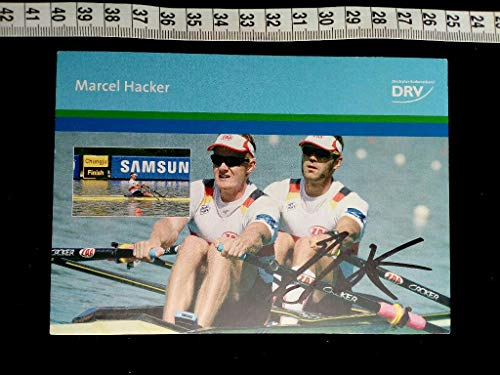 handsignierte Autogrammkarte. original hand signed autograph card with picture of rowing world champion HACKER. -