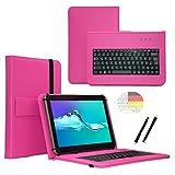 Deutsche Qwertz Tastatur für Huawei MediaPad X2 Tablet PC Etui Schutz Hülle mit Touch Pen - Tastatur 7 Zoll Pink
