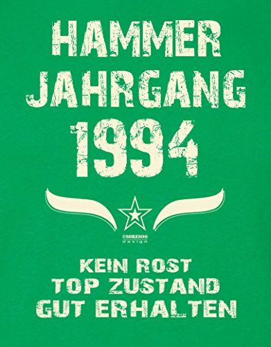 Geburtstagsgeschenk T-Shirt Herren Geschenk zum 23 .Geburtstag Hammer Jahrgang 1994 - auch in Übergrößen - Freizeitlook Männer Papa Farbe: hellgrün Hellgrün