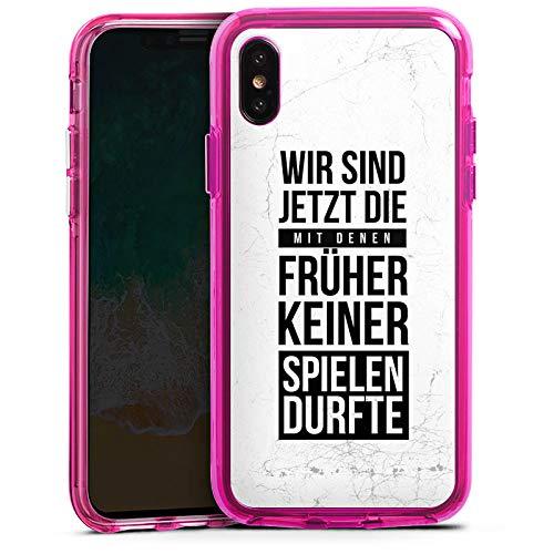 DeinDesign Apple iPhone XS Bumper Hülle transparent pink Bumper Case Schutzhülle Humor Fun Sayings