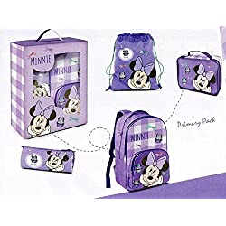 CARTORAMA 01058748 - DISNEY MINNIE PRIMARY PACK COMPOSTO DA ZAINO + ASTUCCIO + SACCA + PORTAMERENDA LUNCH BOX