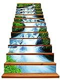 3D Grün Gras Ströme Design Natürlich Landschaft Selbstklebend Treppe Aufsteher Wandmalerei Vinyl Abziehbild Tapezieren Aufkleber 39.3Inch x7.08Inch x 13stücke