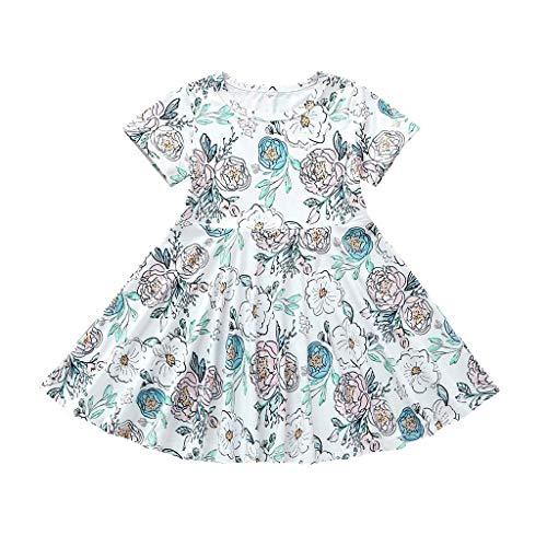 DressLksnf Baby Kleid Kurzarm Drucken Blumenkleid Kleinkind Prinzessin Kleid Mädchen Geburtstag Kinderkleidung Sommer (Türkis Organza Kind Tutu)