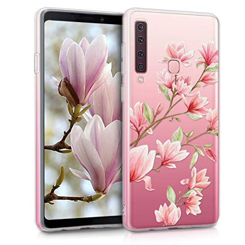 kwmobile Samsung Galaxy A9 (2018) Hülle - Handyhülle für Samsung Galaxy A9 (2018) - Handy Case in Magnolien Design Rosa Weiß Transparent