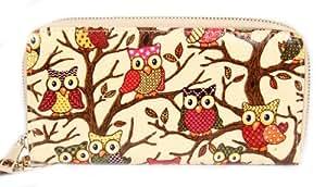 FreshGadgetz Ladies Purse Owl Print Wallet Oilcloth Gift Animal Print Patent NEW Glossy- Beige