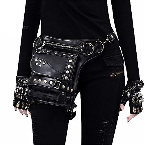 Allibuy Mode Hüfttaschen Damen, Steampunk Retro Motorrad Tasche Lady Bag Retro Rock Gothic Goth Schulter Taille Tasche Drop Beinbeutel -