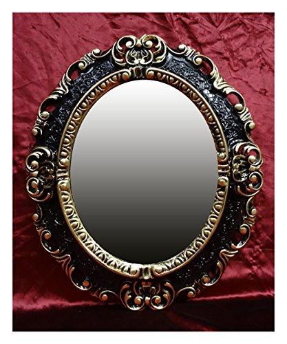 Lnxp WANDSPIEGEL Spiegel Oval in Schwarz Gold Dualcolor REPRO 45x38 Antik Barock Rokoko REPLIKATE...