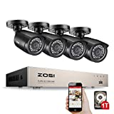 ZOSI 8 Channel 1080N CCTV Camera System 1TB Surveillance HDD w/4 x 720P In/Outdoor Bullet Cameras, Security Camera Systems 20m Night Vision, All-weather Adaptation, Email Alert with Images