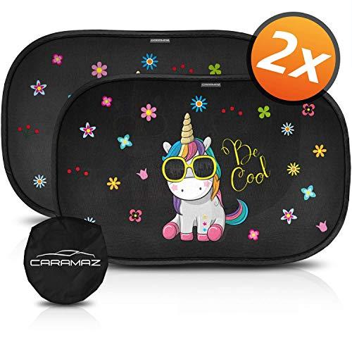 Parasol coche infantil con protección UV - autoadhesivo, para proteger del sol a bebés y mascotas, 2 parasoles para bebé con diseño de unicornio