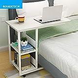 Alexzh_Side tables Beistelltisch, einfacher Schreibtisch Es kann Computertisch fauler Nachttisch, Schlafzimmer im Schlafsaal bewegen (Farbe : Warmweiß, größe : 80 * 40cm)