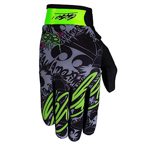 Awesomaniac RACEWEAR leichte Handschuhe Mountain Bike Downhill Enduro Motocross Freeride DH MX MTB BMX Quad Cross, schnelltrocknend, rutschfest und atmungsaktiv, Farbe Grau Grün, Größe L