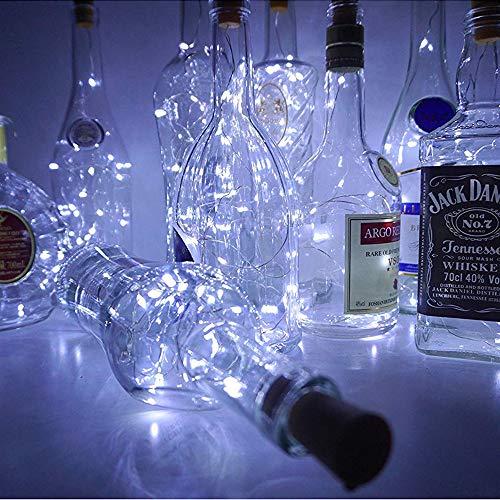 mit Kork, 6 Pack 20 LEDs Flasche Schnur-Licht / 6.5ft (2M) Silber Kupferdraht Batteriebetriebene Wohnkultur Seil Lampe für DIY Geburtstag Hochzeit - Weiß ()