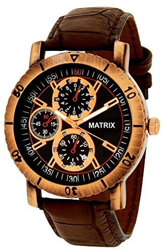 Matrix Chrono Look Black Dial & Brown Leather Strap Analog Watch For Men/Boys- (WCH-123)  available at amazon for Rs.369