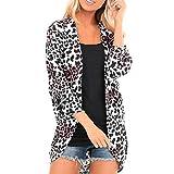 Blusa de Manga Larga con Estampado de Leopardo Mujer Suelta Cardigan Coat Abrigo Mujer Largos Delgado Otoño