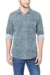Allen Solly Mens Casual Shirt (8907587899336_AMSF517G03226_39_ Khaki with Blue)