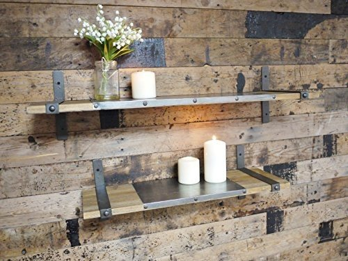 Set de dos estanterías de madera para pared de estilo industrial urbano, con soportes de metal