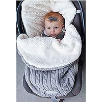 Mengqiy Newborn Baby Swaddle Blanket, Thick Baby Kids Toddler Knit Soft Warm Fleece Blanket Swaddle Sleeping Bag Sleep Sack Stroller Unisex Wrap for 0-12 Month Baby Boys Girls - Grey
