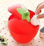 Huertuer creative mini pattumiera fragola pattumiera da tavolo scrivania casa (rosso)