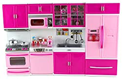 My Happy Kitchen Full Deluxe Kit Battery Operated Toy Doll Kitchen Playset w/ Lights, Sounds, Perfec