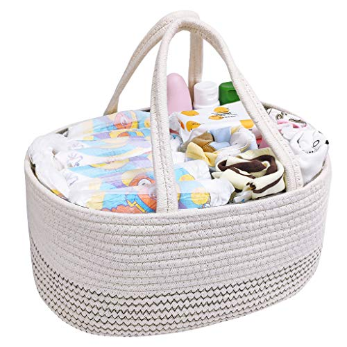 Baby Diaper Caddy Organiser Basket,Cotton Rope Mommy Storage Bag with Handle Infant Nappy Bag Detachable Compartments