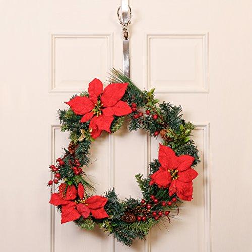 Festive in finto pino berry e red poinsettia wreath–insolito e buffi corona con fiori artificiali, grande invernale, bacche e pigne–ideale per parete/porta decorazione da appendere