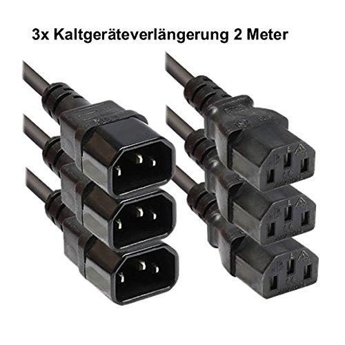 Faconet® Kaltgeräteverlängerung 1.8M Computer PC Stromkabel Verlängerung Netzanschluss-Verlängerung um 1.8 Meter (3 Stck)