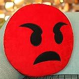 Emoji Kissen Wütend Gesicht Kissen, Purple-Salt® - Emoticon süß weich gefüllt bequem Plüsch Plüsch Smiley Kissen Kissen, 28cm / 12 Zoll gelb rund dick, bunt Neuheit Geschenk - rot