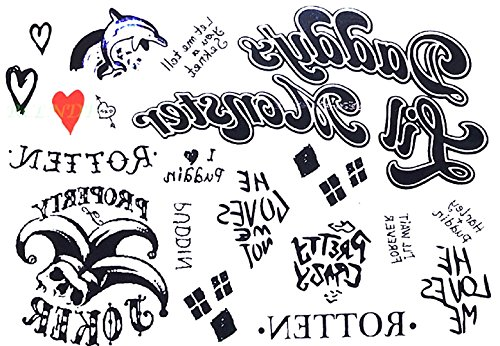 Tatuaje Temporal - Harley Quinn - Mujeres - Chica - Carnaval - Halloween - Cosplay - Suicide Squad - Película - Tatuaje - Idea de Regalo