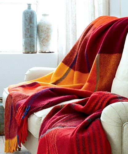 LORENZO CANA Luxus Wolldecke Schurwolle Wohndecke Cottage Landhaus Decke 100% Wolle Schafwolle...