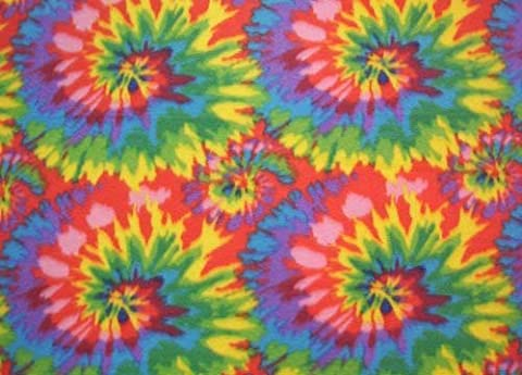 Tie Tye Dye Starburst Fleece Fabric Print by the Yard otyedyebrightq by Field's Fabrics