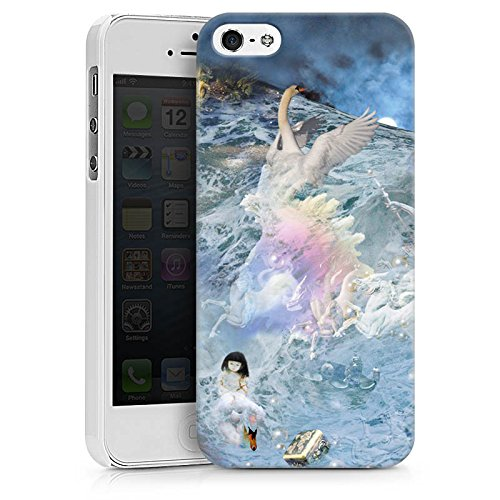 Apple iPhone X Silikon Hülle Case Schutzhülle Schwan Collage Kunst Hard Case weiß