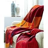 LORENZO CANA Luxus Wolldecke Schurwolle Wohndecke Cottage Landhaus Decke 100% Wolle Schafwolle Sofadecke Picknickdecke Kuscheldecke Plaid Wolle Tweed 130 cm x 200 cm 96146