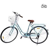 Paneltech 28 Pulgadas 6 Velocidad de Ciudad Bicicleta de Ciudad para Mujer Hombre Paseo Citybike Compras