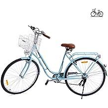 Paneltech 28 pulgadas 7 velocidad de Ciudad Bicicleta de ciudad para mujer hombre Paseo Citybike compras Commute para bicicleta con luz delantera y luz trasera y cesta
