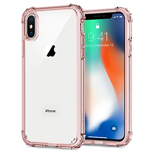 Cover iPhone X, Spigen [Crystal Shell] Custodia iPhone X con pannello posteriore trasparente e angoli rinforzati sul paraurti TPU per Apple iPhone X (2017) - Crystal Clear - 057CS22141 Rose Crystal