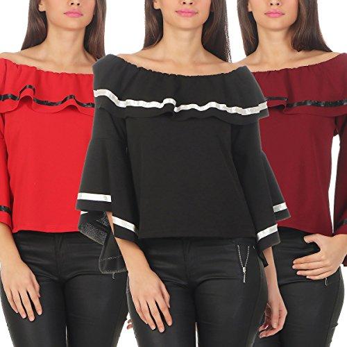 4762 Fashion4Young Damen Bluse Carmenbluse Langarm Damenbluse Volantkragen u. Volantärmel Weinrot