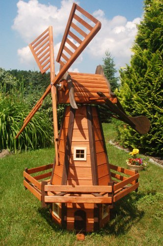 Deko-Shop-Hannusch Moulin à vent décoratif type moulin hollandais en bois enduit avec roulement à billes 1,6 m