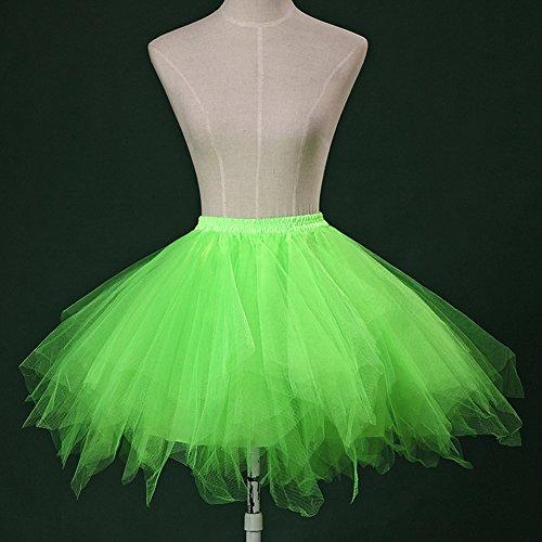 Femme Miniskirt Classique de Taille Haute Jupon Petticoat des années 1950 Tulle Ballet Bubble Tutu Jupe Vert