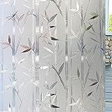 Static Window Film,3D Bamboo Pattern Glass Sticker Static Window Film for Glass Privacy
