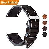Fullmosa Ersatz Armbänder für Uhr in 6 Farben, Wax Series Echtes Leder Uhrenarmband/Wactch Armband/Replacement für 20mm,Kaffeebraun + Silber Schnalle