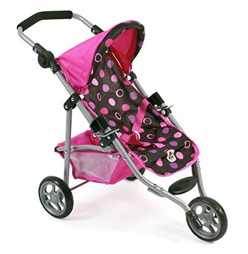 Bayer Chic 2000 612 48 - Jogging Buggy Lola, Kleiner Puppenwagen für Puppen bis 50 cm, Pinky Balls