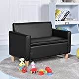 COSTWAY Kids Sofa Storage Children Armchair Single & Double Seater Seat Boys Girls Lounger Couch Padded Chair Furniture Home Indoor (Black, Double seater sofa)