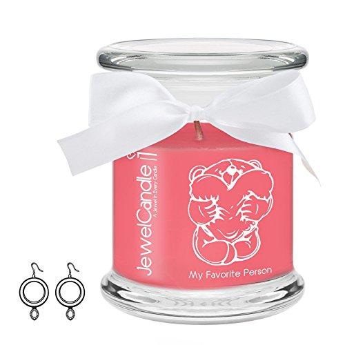 Jewelcandle my favorite person - candela in vetro con un gioiello - candela profumata fragola con una sorpresa in regalo per te (orecchini in argento, tempo di combustione: 45-65 ore)