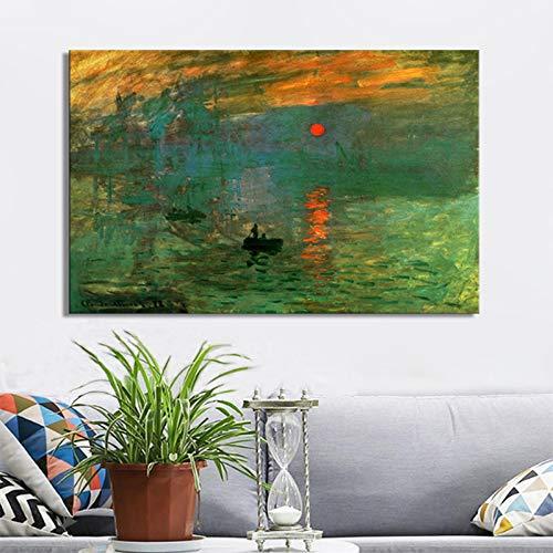 mmwin Claude Monets Impression Sunrise Poster und Drucke auf Leinwand Wandkunst Malerei Klassische Berühmte Malerei für Wohnzimmer Dekor Q 60X100 cm