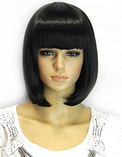 des Perruques 33 cm/33 cm Perruque de cheveux femme NEUF Mode Bob courte Perruque résistant à la chaleur Perruque pour cosplay/Costume de fête d'Halloween (Noir)