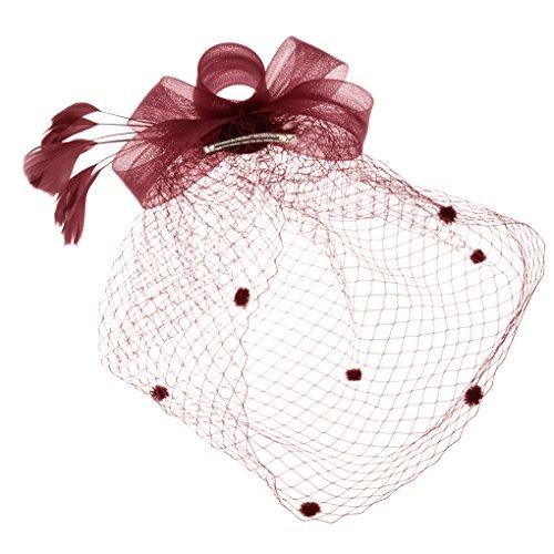 Hüte mit Feder Blumen Haar Clip Haarreif Haar Accessoire Netz-Mütze Schleier Tea Party Hochzeit Kirche Haarschmuck Kopfschmuck Kopfbedeckung für Frauen,weinrot (Blume Und Feder-haar-clips)