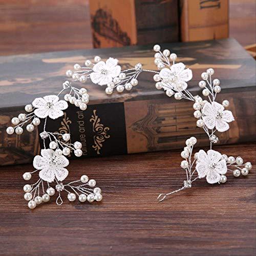 YI-SHAN Perle Haarschmuck Handgemachte weiße Spitze Blume Stirnbänder Frauen Tiaras Kristall Perle Haarband Kopfschmuck Hochzeit Braut Haarschmuck Zubehör